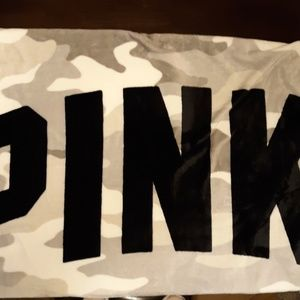 NEW Black white and grey camo plush PINK blanket